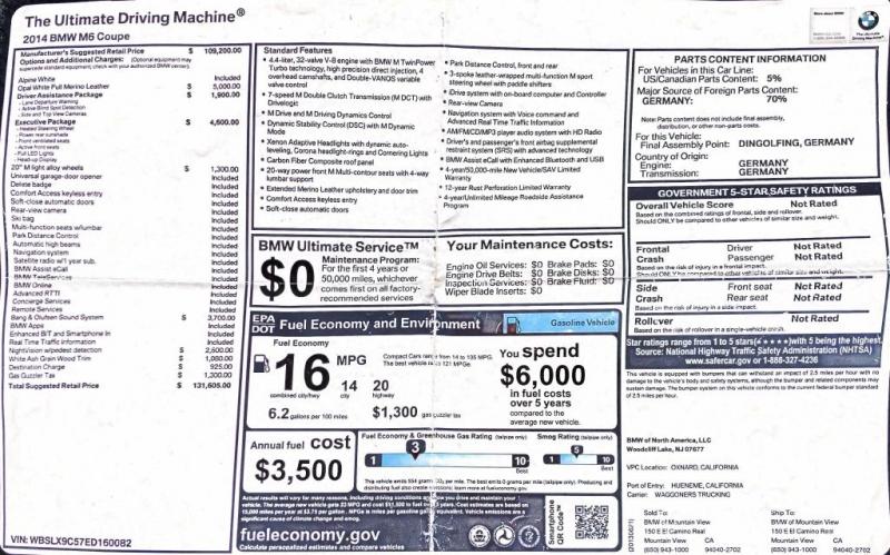BMW M6 2014 price $38,995