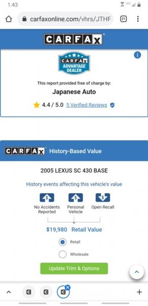Lexus SC 430 2005 price $16,995