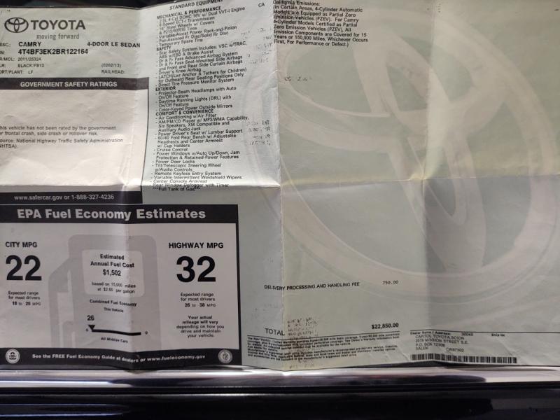Toyota Camry 2011 price $8,785