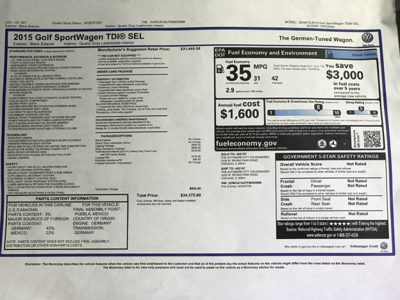 VOLKSWAGEN GOLF SPORTWAGEN 2015 price $15,987