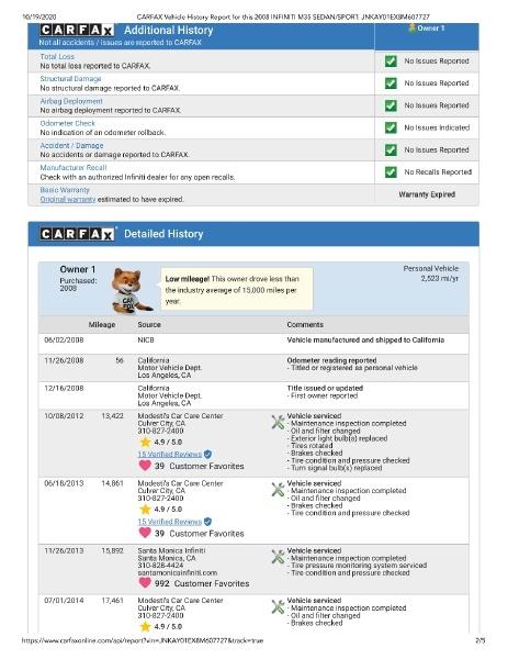 Infiniti M35 2008 price $16,800