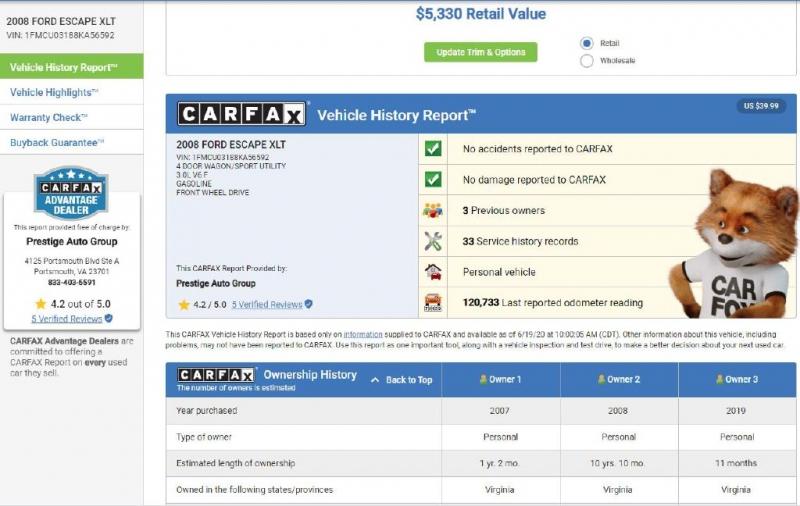 FORD ESCAPE 2008 price $5,750