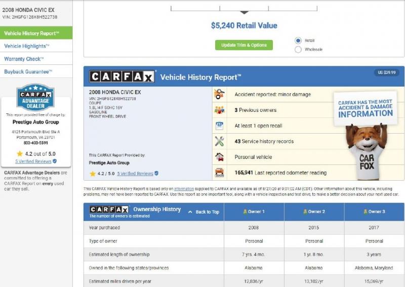 HONDA CIVIC 2008 price $5,495