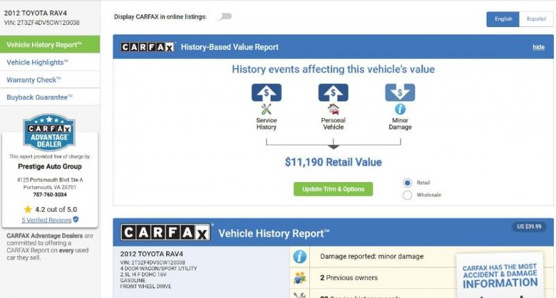 TOYOTA RAV4 2012 price $12,450