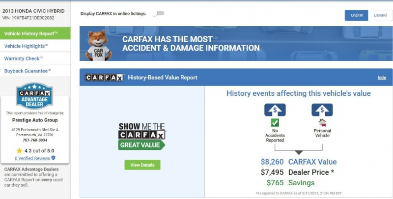 HONDA CIVIC 2013 price $7,850