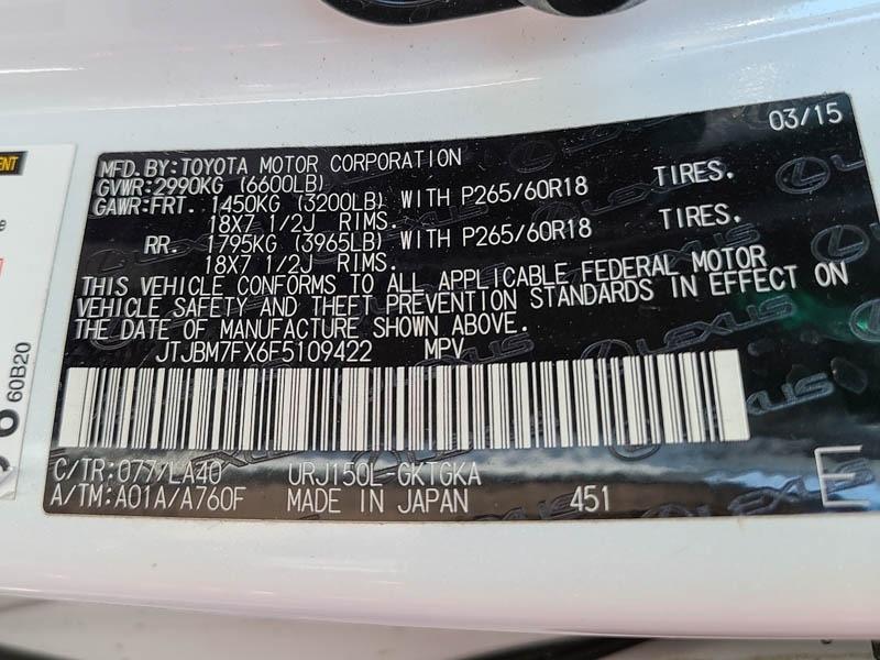 Lexus GX 460 2015 price $22,888