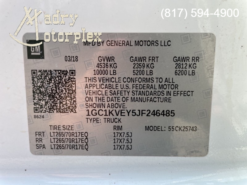 CHEVROLET SILVERADO 2500 2018 price $48,950
