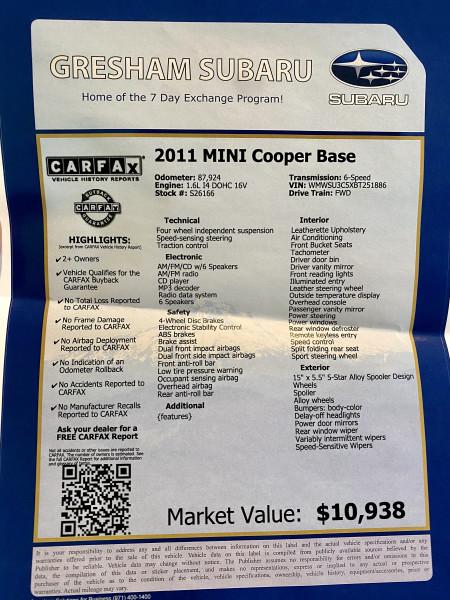 Mini Cooper Hardtop 2011 price $7,795