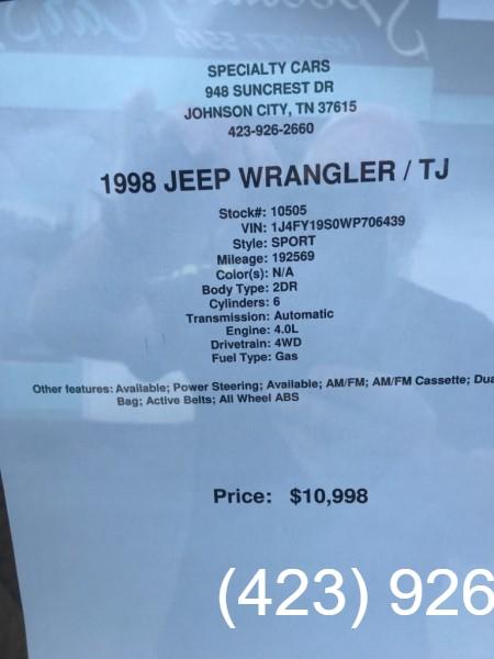 JEEP WRANGLER / TJ 1998 price $10,995