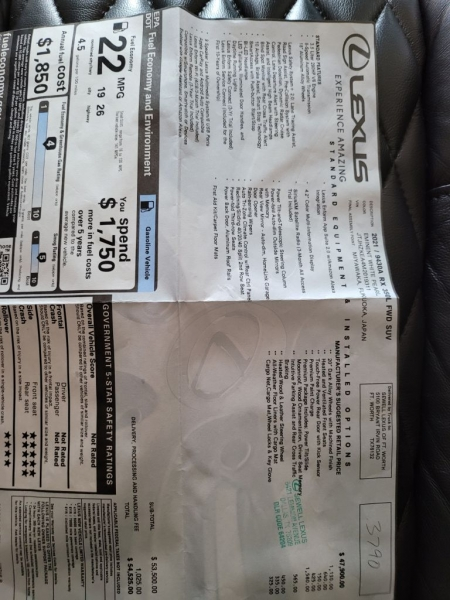 LEXUS RX 2021 price $53,400