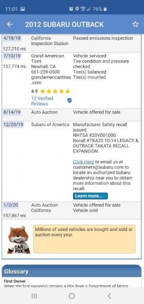 SUBARU OUTBACK 2012 price $7,249