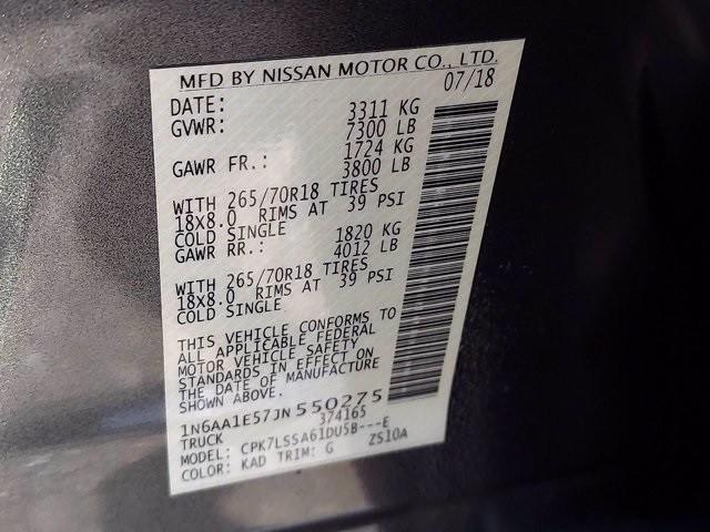 Nissan Titan 2018 price $39,500