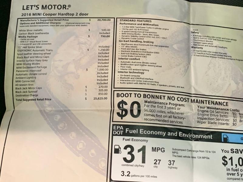 MINI Hardtop 2 Door 2016 price $13,000