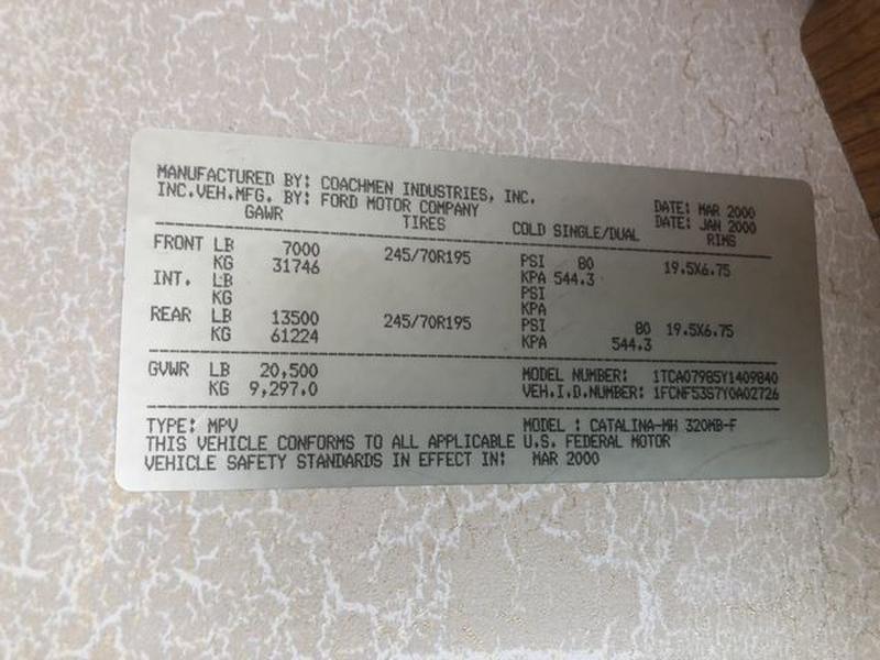 COACHMEN CATALINA 2000 price $32,000