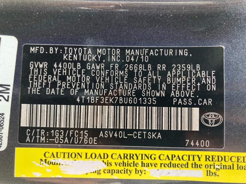 Toyota Camry 2011 price $8,998
