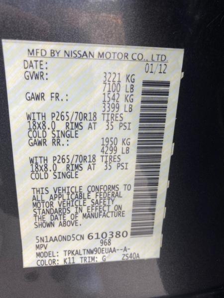Nissan Armada 2012 price $6,598