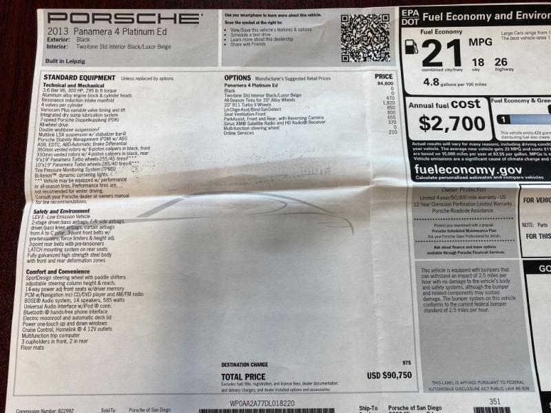 PORSCHE PANAMERA 2013 price $44,599