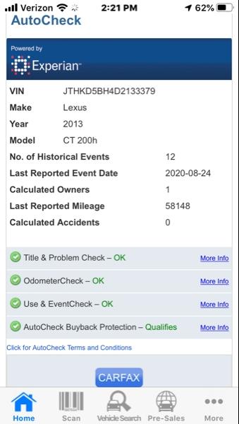 Lexus CT 200h 2013 price $15,995
