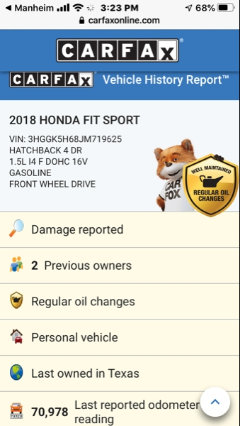 Honda Fit 2018 price $12,495