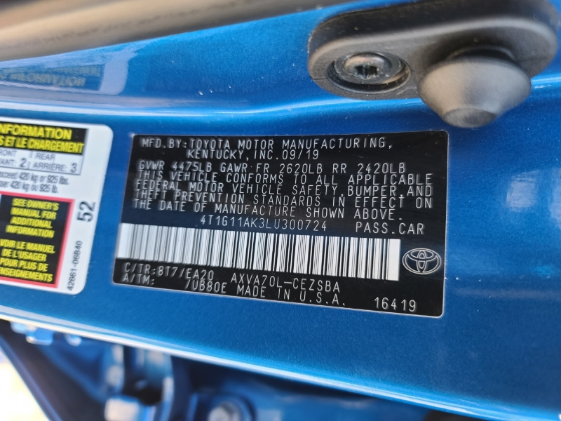 Toyota Camry 2020 price $3,500