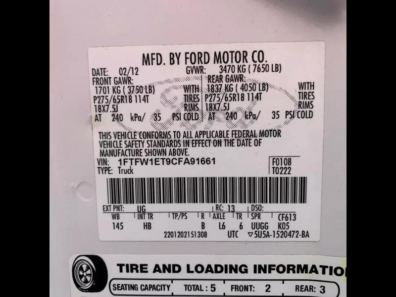Ford F-150 2012 price $16,500 Cash