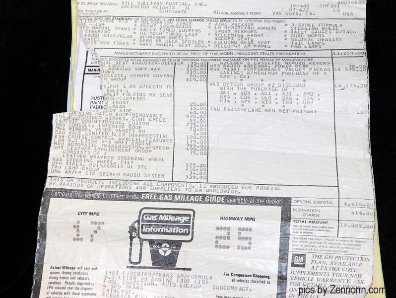 Pontiac Firebird 1987 price $24,990