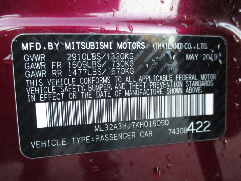 Mitsubishi Mirage 2019 price $8,500