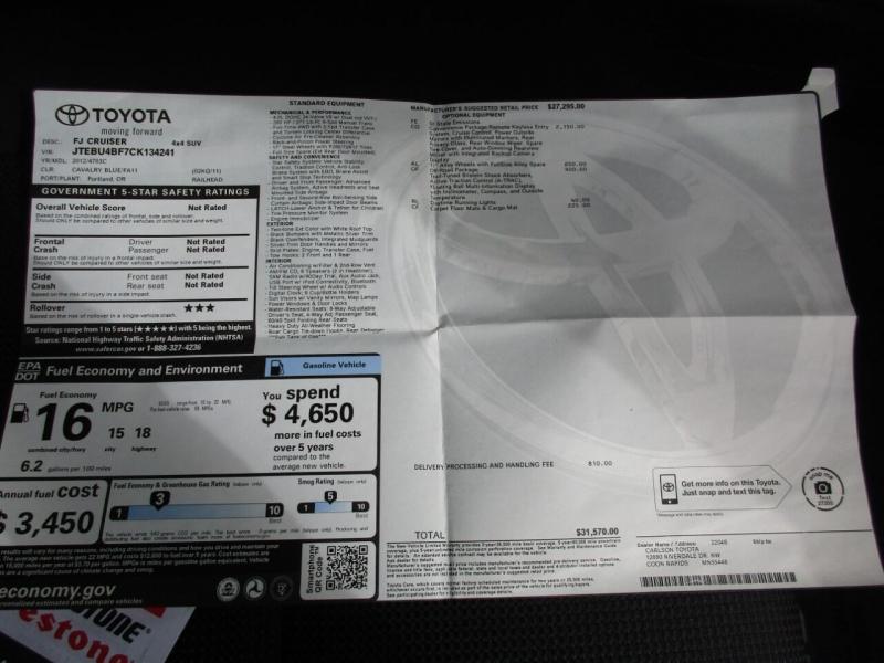 Toyota FJ Cruiser 2012 price $32,995