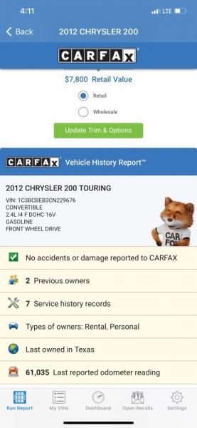 CHRYSLER 200 2012 price $6,990