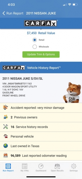 NISSAN JUKE 2011 price $7,500