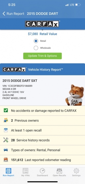 DODGE DART 2015 price $5,990