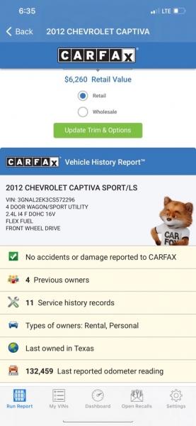 CHEVROLET CAPTIVA 2012 price $6,500