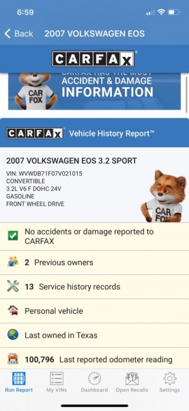 VOLKSWAGEN EOS 2007 price $6,990