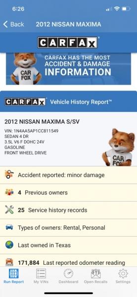 NISSAN MAXIMA 2012 price $6,500