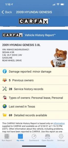 HYUNDAI GENESIS 2009 price $6,990