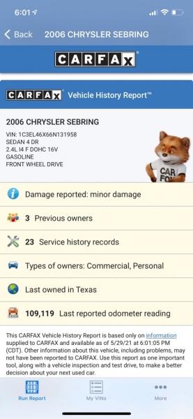 CHRYSLER SEBRING 2006 price $3,990
