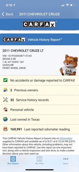 CHEVROLET CRUZE 2011 price $5,500