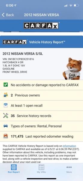 NISSAN VERSA 2012 price $4,990