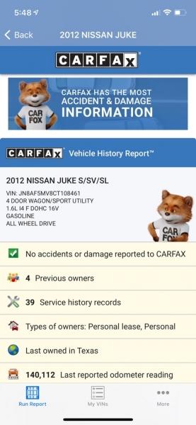 NISSAN JUKE 2012 price $7,990