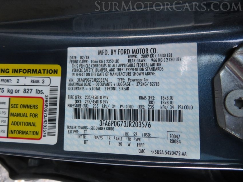 Ford Fusion 2018 price $5,950