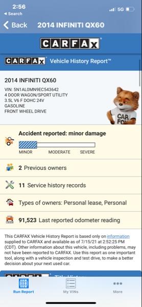Infiniti QX60 2014 price $14,488