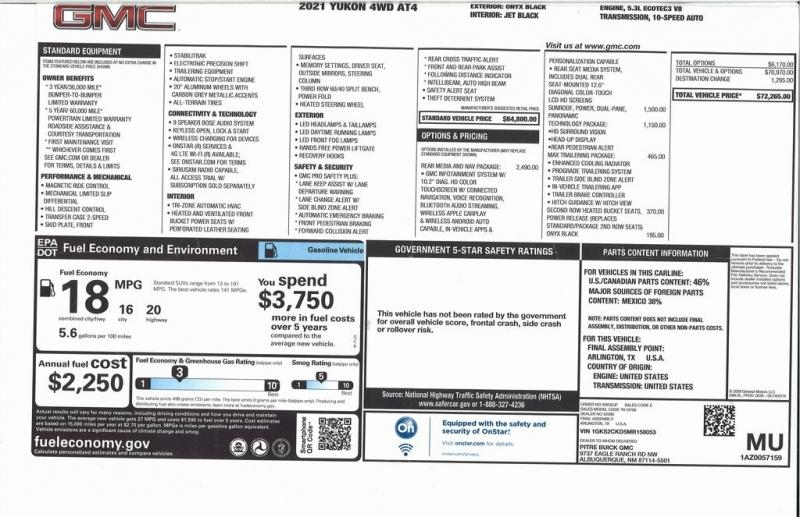GMC Yukon 2021 price $71,750