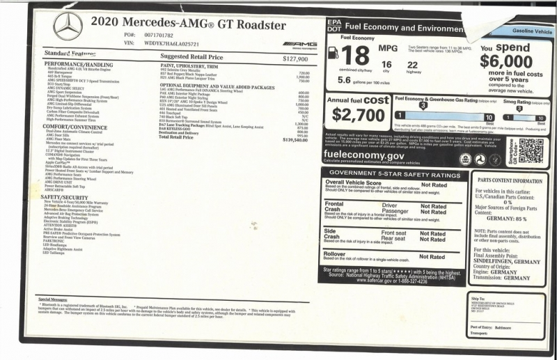 Mercedes-Benz AMG GT 2020 price $124,500