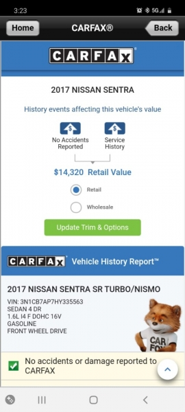 Nissan Sentra 2017 price $12,999 Cash
