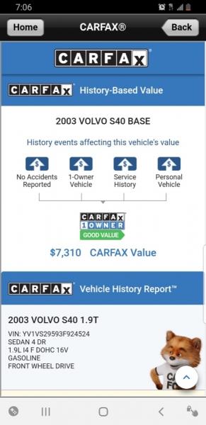 Volvo S40 2003 price $5,999