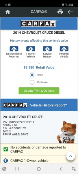 Chevrolet Cruze 2014 price $6,499 Cash