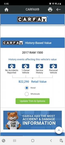 RAM 1500 2017 price $21,999 Cash