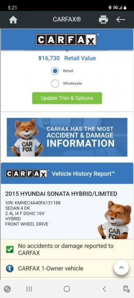 Hyundai Sonata Hybrid 2015 price $12,999 Cash