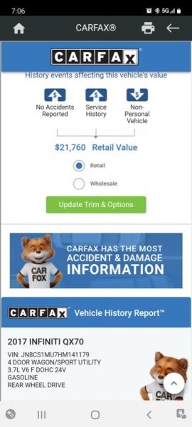 Infiniti QX70 2017 price $19,999 Cash