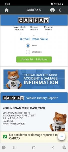 Nissan cube 2009 price $6,999 Cash